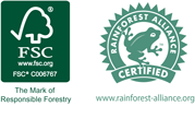 Tension Corporation meets the chain-of-custody standards set forth by the FSC® and is certified by the Rainforest Alliance