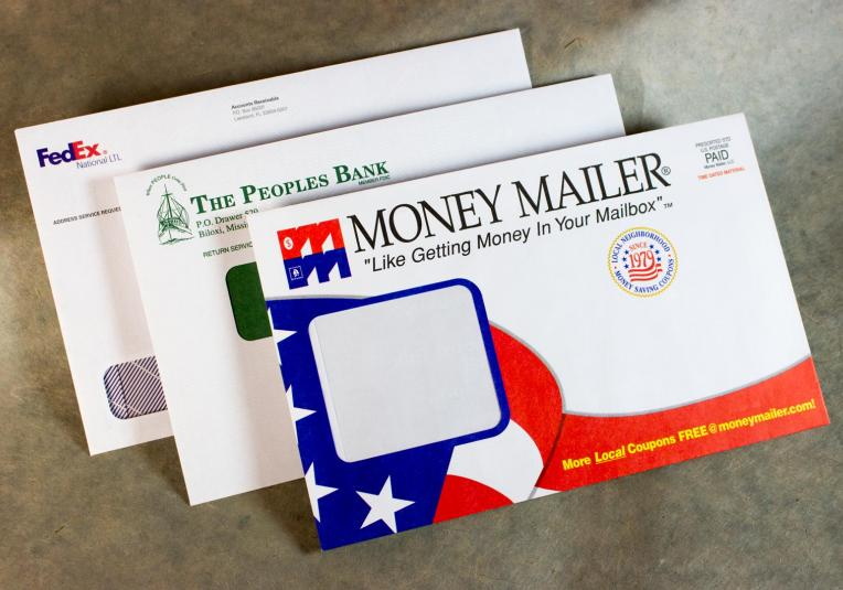 Special Window 6x9 Envelopes - Money Mailer, The Peoples Bank, Fedex